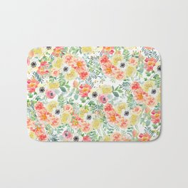 Hand painted modern pink yellow green watercolor floral pattern Bath Mat