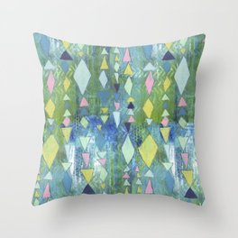 Geometric Slide in Cool Blue Throw Pillow