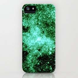 Galaxy Sparkle Stars Money Green iPhone Case