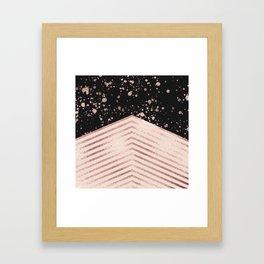 Luxury Rose Gold Pink Black Chevron Paint Splatter Framed Art Print