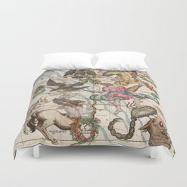 Vintage Constellation Map - Star Atlas - Sagittarious - Scorpio Duvet Cover