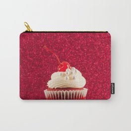 Cupcake Love - Red Velvet on Red Sparkles Carry-All Pouch