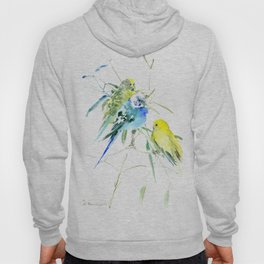 Parakeets green yellow blue bird decor Hoody
