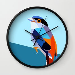 Colorful Bird Low Poly Wall Clock