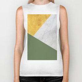 Carrara marble with gold and Pantone Kale color Biker Tank