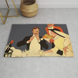 Berlin retro 1920 Plakatstil Fledermaus wine restaurant advertisement Rug
