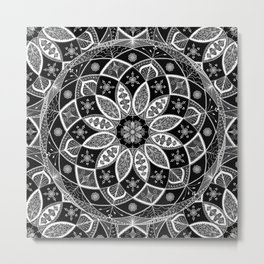 Mandala black white art pattern floral design Metal Print