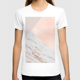 Blush pink layers of rose gold and marble T-shirt