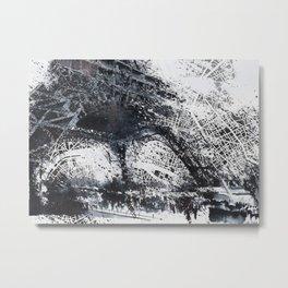 Eiffel tower painting  - Paris Map Metal Print