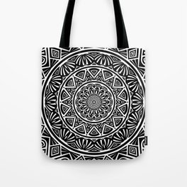 Black and White Simple Simplistic Mandala Design Ethnic Tribal Pattern Tote Bag
