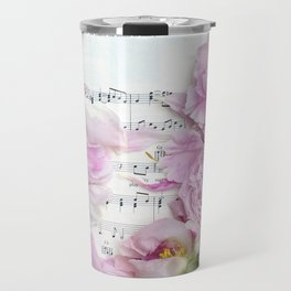 Shabby Chic Cottage Peonies On Sheet Music - Inspirational Peonies Print Travel Mug