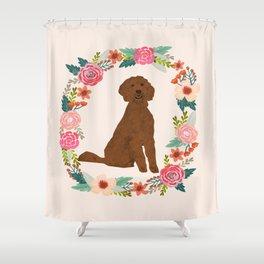 golden doodle dog floral wreath dog gifts pet portraits Shower Curtain