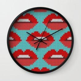 Lips pattern - blue Wall Clock