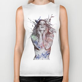 The Withering Spring: Wine (nude tattooed girl with flowers) Biker Tank