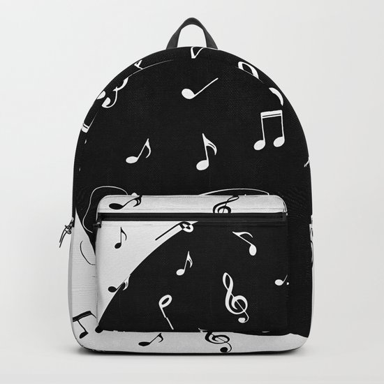 Music White and Black Backpack