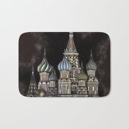 Saint Basil's Cathedral - red sky, Moscow, Russia Bath Mat