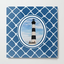 Bodie Island Lighthouse-North Carolina -With Nautical Netting Background on Classic Blue Metal Print