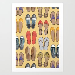 Hard choice // shoes on yellow background Art Print