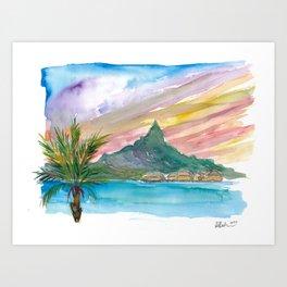 Tahiti Polynesian Dreams with Huts And Mountains Art Print