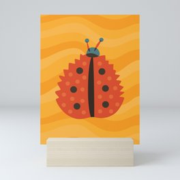 Orange Ladybug Autumn Leaf Mini Art Print