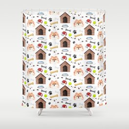 Pommeranian Half Drop Repeat Pattern Shower Curtain