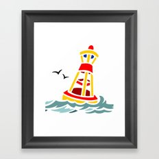 Yellow and Red Buoy Framed Art Print