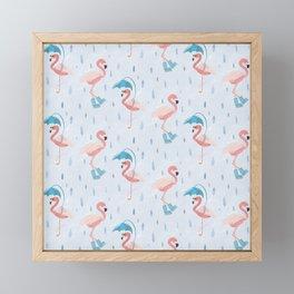 Rainy Flamingos Framed Mini Art Print