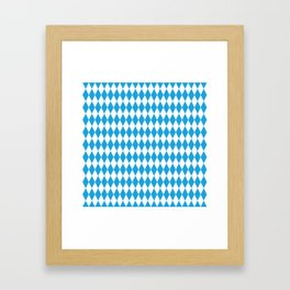 Oktoberfest Bavarian Blue and White Large Diagonal Diamond Pattern Framed Art Print