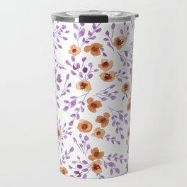 Prairie Flowers - Watercolor Floral Purple Copper Brown Travel Mug