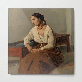 "Jean-Baptiste-Camille Corot ""Melancholy Italian Woman (Rome)"" Metal Print"