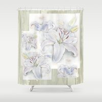 casablanca Shower Curtains featuring Lilies On Vintage by LindaWexlerArt