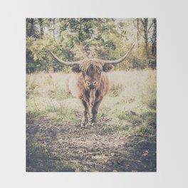 Highland scottish cow cattle long horn Throw Blanket