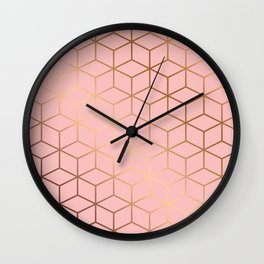 Pink and Gold Geometry 011 Wall Clock