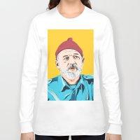 zissou Long Sleeve T-shirts featuring Steve Zissou by Jeroen van de Ruit