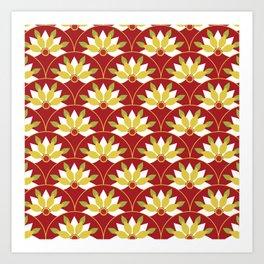 Red Asian pattern Art Print