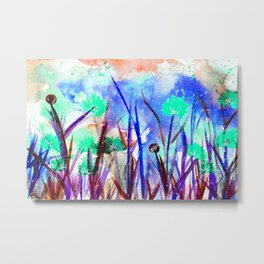 Flower Field Mint Blossom Metal Print