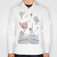 paris Hoodies featuring Voyages Over Paris by David Fleck