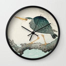 Ohara Koson, Blue Heron On Tree - Japanese Vintage Woodblock Print Wall Clock