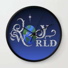 Joy to the World Silver Wall Clock