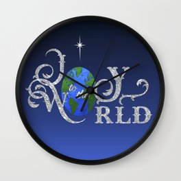 Joy to the World Silver Wall Clock