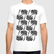 Palmtree Pattern MEDIUM White Mens Fitted Tee