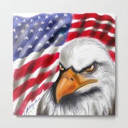 Flag and Eagle Metal Print