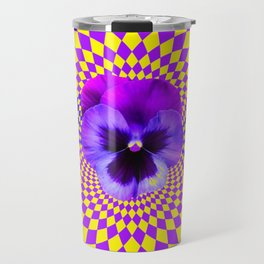 OPTICAL LILAC PURPLE PANSIES YELLOW  GEOMETRIC ART Travel Mug