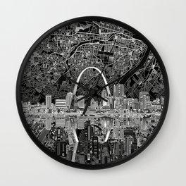 st louis city skyline map Wall Clock