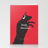 hemingway Stationery Cards featuring Ernest Hemingway book Cover & Poster - Death in the Afternoon by Stefanoreves