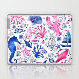 Hand painted blush pink blue watercolor nautical sea pattern Laptop & iPad Skin