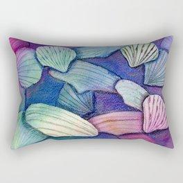 Sea Shell Watercolor Mixed Media Art Rectangular Pillow