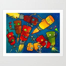 Robot - Robot Party 2 (Zero Gravity) Art Print