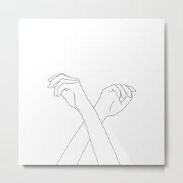 Crossed hands line drawing - Edie Metal Print