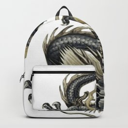 Lucky Chinese Dragon In Gray and Gold Backpack